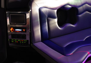 Detailed view of vehicle's seating area and audio system