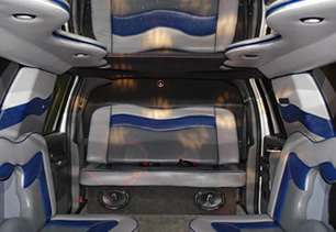 Detailed view of mirror ceiling in passenger seating area